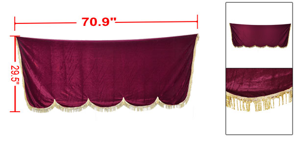 Tassels Trim Burgundy Dust Protective Piano Bench Half Cover 1.8 x 0.75M