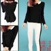 Puff Long Sleeve Scoop Neck Zip Up Back Women Black Elegant Jumper XS