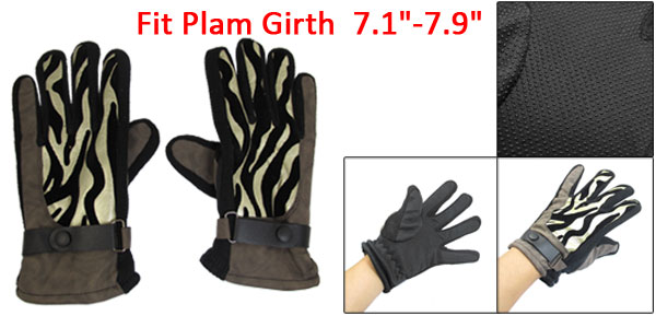 Man Winter Nylon Fleece Climbing Golden Tone Coffee Color Full Finger Gloves