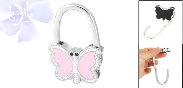Light Pink White Butterfly Shaped Metal Foldable Handbag Hook