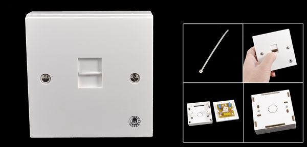 UK Telephone BT 6P6C Female Socket Wall Plate Box White 85mm