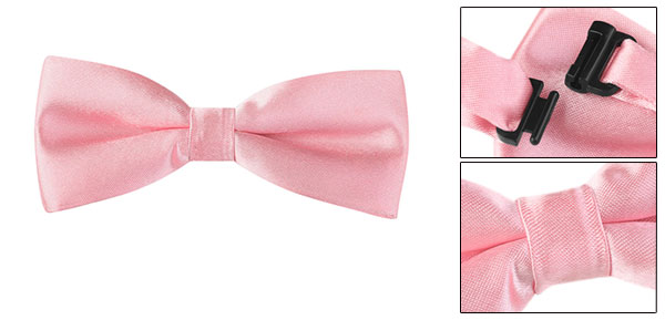 Men Pink Two Layer Nylon Bowknot Plastic Buckle Bow Tie