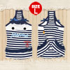 Sleeveless White Dark Blue Striped Pet Dog Dress Skirts Shirts Ap...