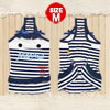 Pet Dog Clothing Striped Tank Top Dress Skirts White Dark Blue Apparel M