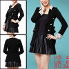 Women Black Peaked Lapel Double Breasted Spring Office Lady Blaze...