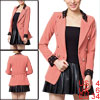 Ladies Pink Double Breasted Long Sleeve Pure Spring OL Blazer Coa...
