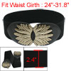 Metal Interlocking Buckle Black Elastic Waistband Belt for Women