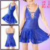 Lady Plastic Crystal Decor Royal Blue Sheer Sexy Mini Slip Dress ...