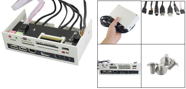 USB 2.0 HUB 3 Port Audio SATA Panel Card Reader Gray 5.25
