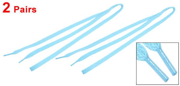 2 Pairs Light Blue Cotton Blends Sport Sneakers Flat Shoe Laces