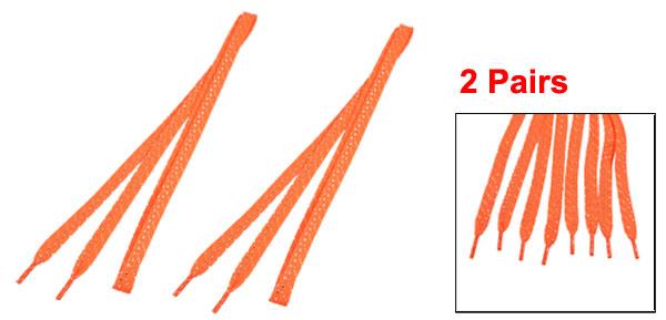 2 Pairs Silver Tone Glitter Thread Detail Sneakers Flat Shoelaces Orange