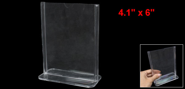 Clear Plastic 10.5 x 15cm Standard Price Menu Display Holder