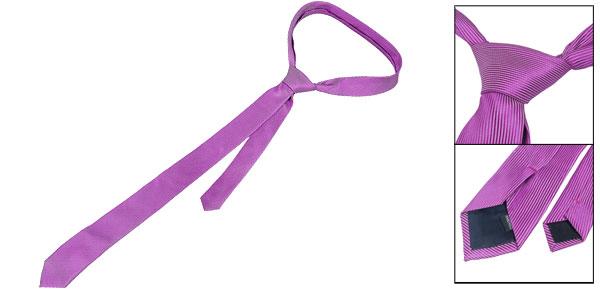 5cm Wide Pin Stripes Pattern Self Tie Skinny Necktie Purple for Ladies