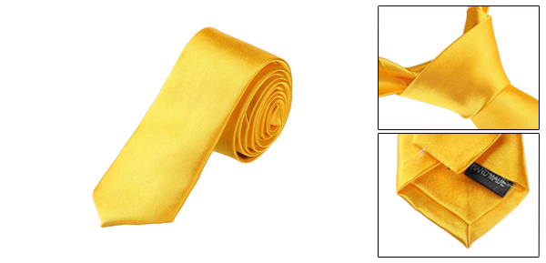 5cm Width Polyester Self Tie Skinny Necktie Yellow for Woman