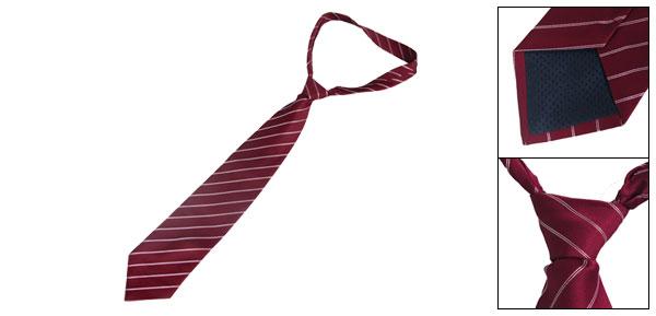 10cm Wide White Bar Stripes Prints Burgundy Polyester Self Tie Necktie for Men