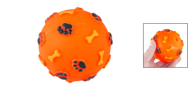 Paw Pattern Orange Rubber Ball Squeaky Chew Toy for Pet Dog