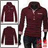 Mens Burgundy Fashion Plaids Accent Buttoned Cuffs Stretchy Polo ...