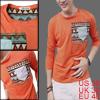 Men Orange Stretch Button Decor Front Pocket Long Sleeve Shirt M