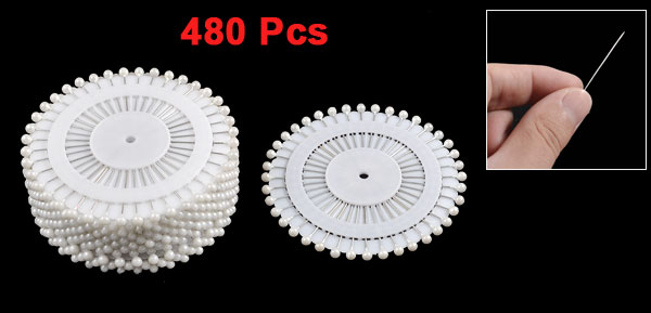 Needlework White Faux Pearl Head Corsage Pins 35mm Long 480 Pcs