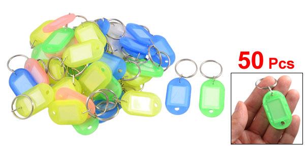 50 Pcs Assorted Color Keys ID Labels Tags Split Ring Key Rings