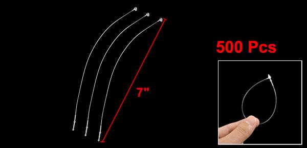 500 Pcs White Snap Lock Pins Security Loop Plastic Tag Fastener 7
