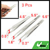 3pcs Home Metal Straight Curved Flat Pointed Tweezers Set Silver ...