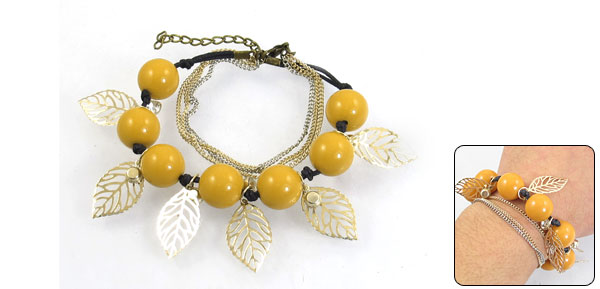 Woman Decorative Plastic Seven Beads Accent Adjustable Bracelet Gold Tone Orange