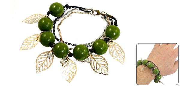 Adjustable Rhinestones Detailing Wrist Bracelet Gold Tone Green for Girls