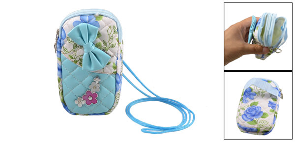 Bowtie Flower 2 Compartment Zipper Phone Bag Wristlet Coins Wallet Blue
