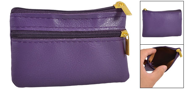 Rectangle Purple Faux Leather Zip Coins Purse Pouch Change Wallet Bag