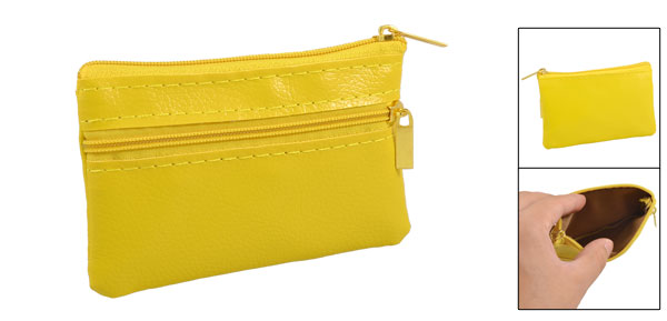 Yellow Imitation Leather Mini Zipper Bag Key Card Coins Purse Change Wallet