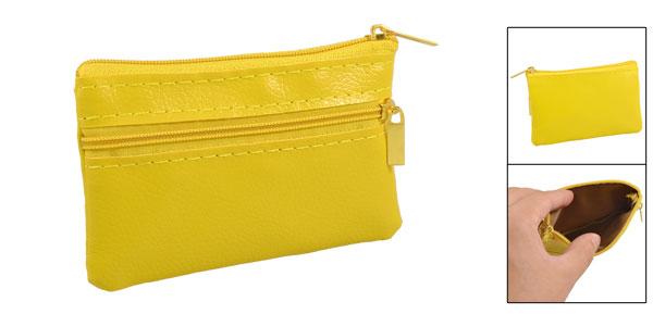 Yellow Imitation Leather Mini Zipper Bag Key Card Coins Purse Change Wallet
