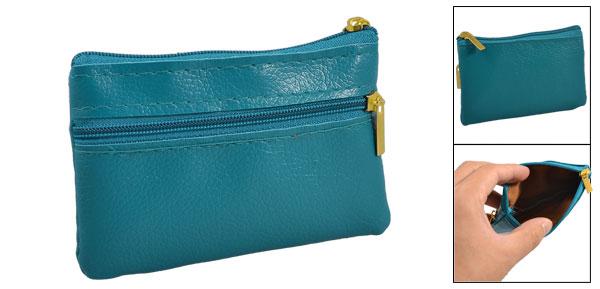 Lychee Pattern 2 Zipper Closure Coin Change Purse Wallet Pouch Case Teal Green