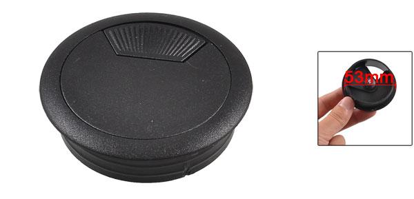 53mm Black Plastic Desktop Table Cable Grommet Hole Cover Organizer