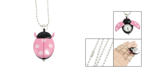Round Dial Pink Black Ladybug Pendant Necklace Chain Quartz Watch