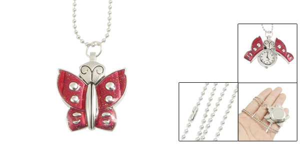 Women Red Butterfly Shaped Case Beaded Chain Necklace Watch