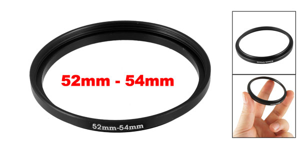Office Metal Camera 52mm to 54mm Step-Up Filter Ring Adapter Lens Black