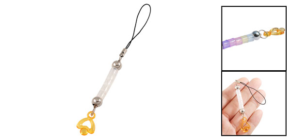 Yellow Heart Shape Pendant  Reflector Color Changing Cellphone Chain
