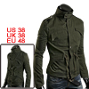 Men Olive Green Stylish Long Sleeve Stand Collar Four Pockets Zip...