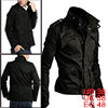 Men Black Fashion Pockets Front Button-tab Detail Zipped Button C...