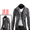 Mens Gray Stylish Long Sleeve Drawstring Four Pockets Single Breasted Jacket M