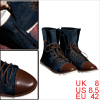 Men Dark Blue Stylish Rubber Sole Lace Up Zipped Casual Boots Sho...