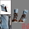 Mens US 8.5 Women US 10.5 Pale Blue Fashion Lace-Up Front Fake De...
