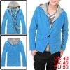 Mens Blue Light Gray Stylish Elastic Hood 2 Pockets Front Coat M