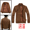 Mens Brown Ribbed Cuff Long Sleeve Leather Look Fashion Jackets S