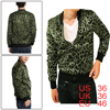Men Leopard Prints Zipped Closure Bomper Jacket Black Olive Green...