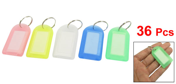 Plastic Key ID Label Tags Multicolor 36 Pcs w Split Ring Keyring Keychain