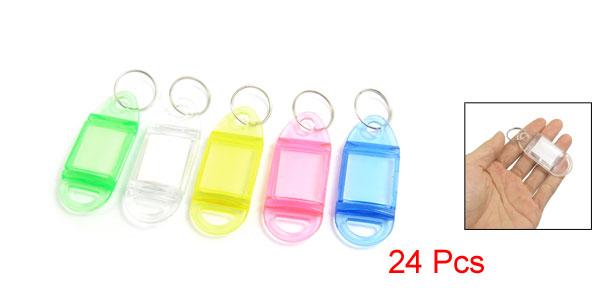 24 Pcs Multi Color Key ID Label Tags Split Ring Keyring Keychain