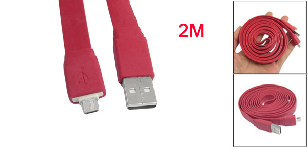 Red 2 Meter 6.5Ft Long Data Transfer USB Male A to Micro 5 Pin Cable