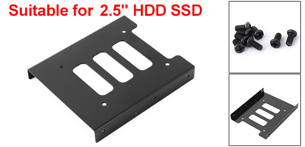 2.5 Inch Black Metal Frame SSD Bracket Desktop PC HDD Drive Tray